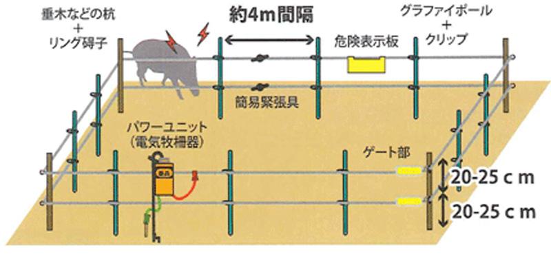 イノシシ用電気柵設置例