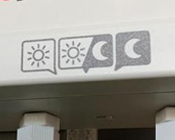 切替スイッチで、昼(カラス)のみ/夜(防犯)のみ/昼夜(カラス・防犯)作動を選択可能