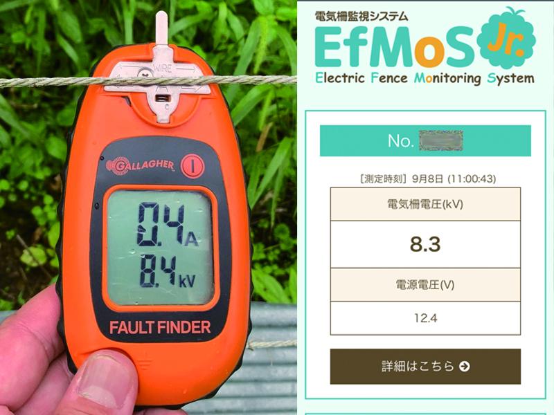 電気柵監視システム「エフモスジュニア」で電圧管理